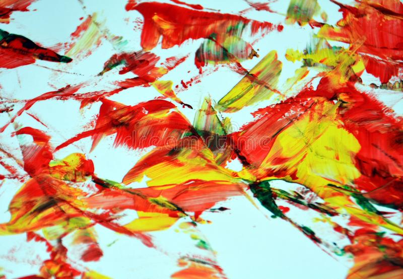 De rode geeloranje kleuren, vage het schilderen waterverfachtergrond, vatten het schilderen waterverfachtergrond samen royalty-vrije stock foto's