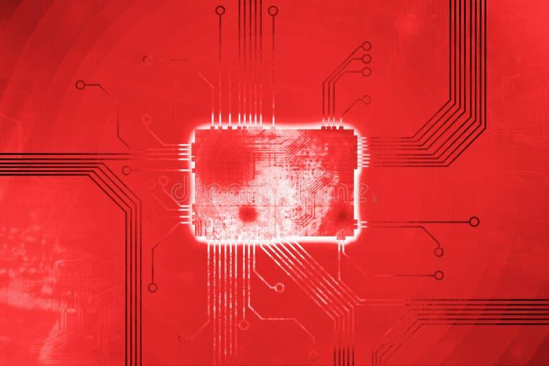 De rode Gekleurde kern van de digitale computerspaander royalty-vrije illustratie