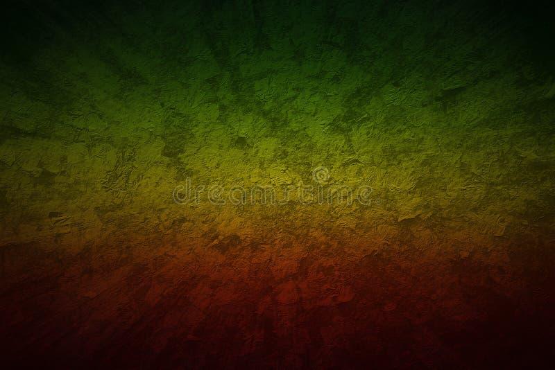 De rode, Gele, Groene stijl van kleurenreggae De snelheid van de Grungemotie backg stock foto