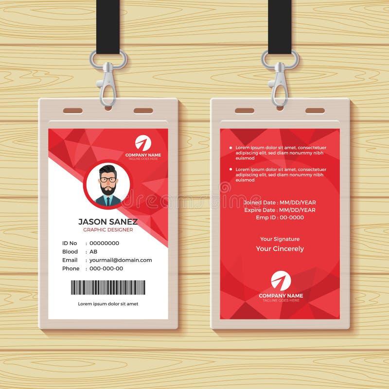 De rode Geometrische Ontwerpsjabloon van de Werknemer-IDkaart royalty-vrije illustratie