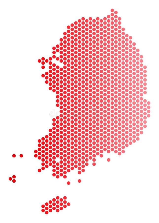 De rode Gestippelde Kaart van Zuid-Korea vector illustratie