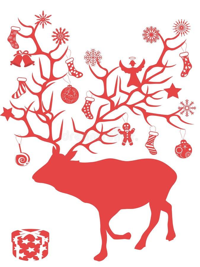 De rode geweitakken van de de boomtak van Kerstmisherten stelt voor vector illustratie