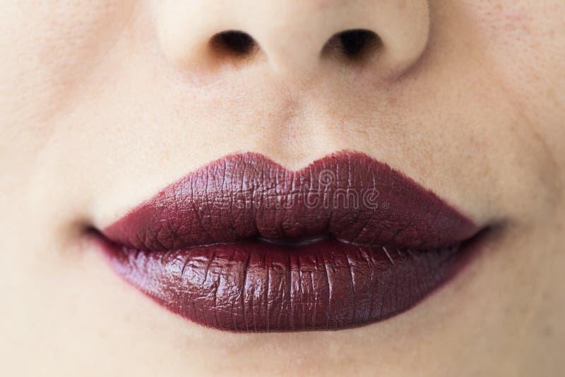 De rode glanzende vrouwelijke lippen sluiten omhoog mening stock fotografie