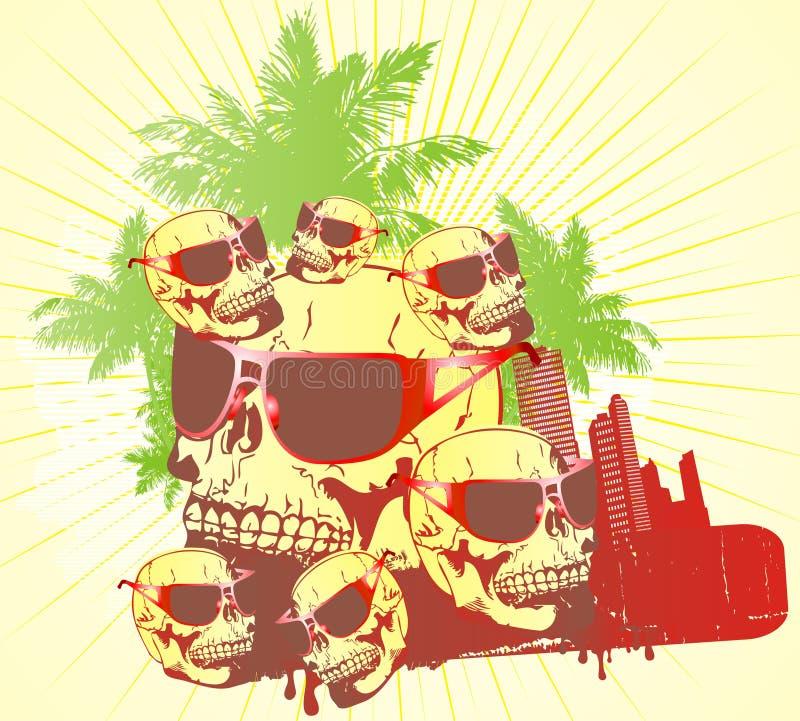 De rode glazen van de schedel vector illustratie