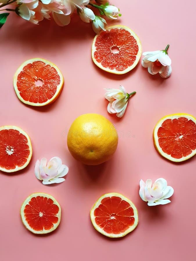 De rode grapefruit snijdt Kleurrijke schotels plateert gele kop op roze van de achtergrond achtergrondstillevenbanner illustratie royalty-vrije stock foto's