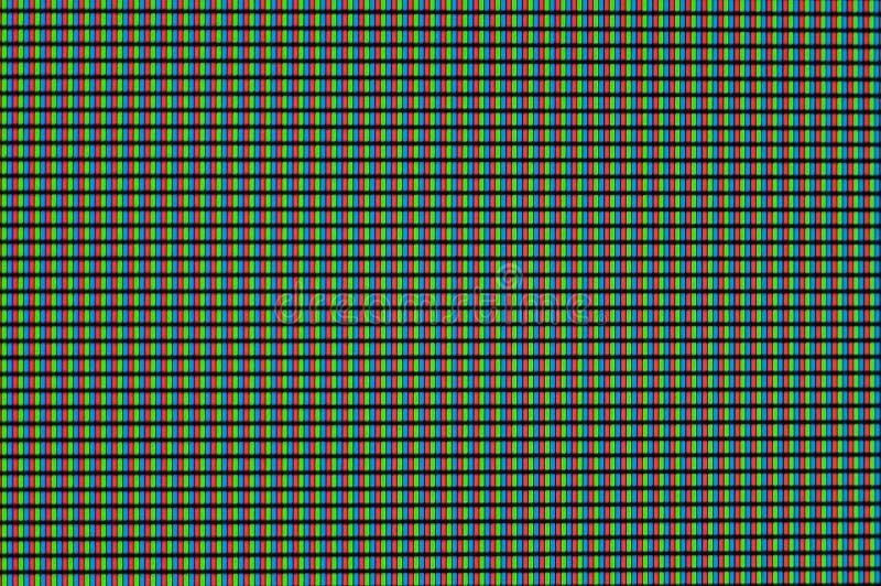 De rode, groene en blauwe pixel gloeien en het draai turkooise licht op de computermonitor stock illustratie
