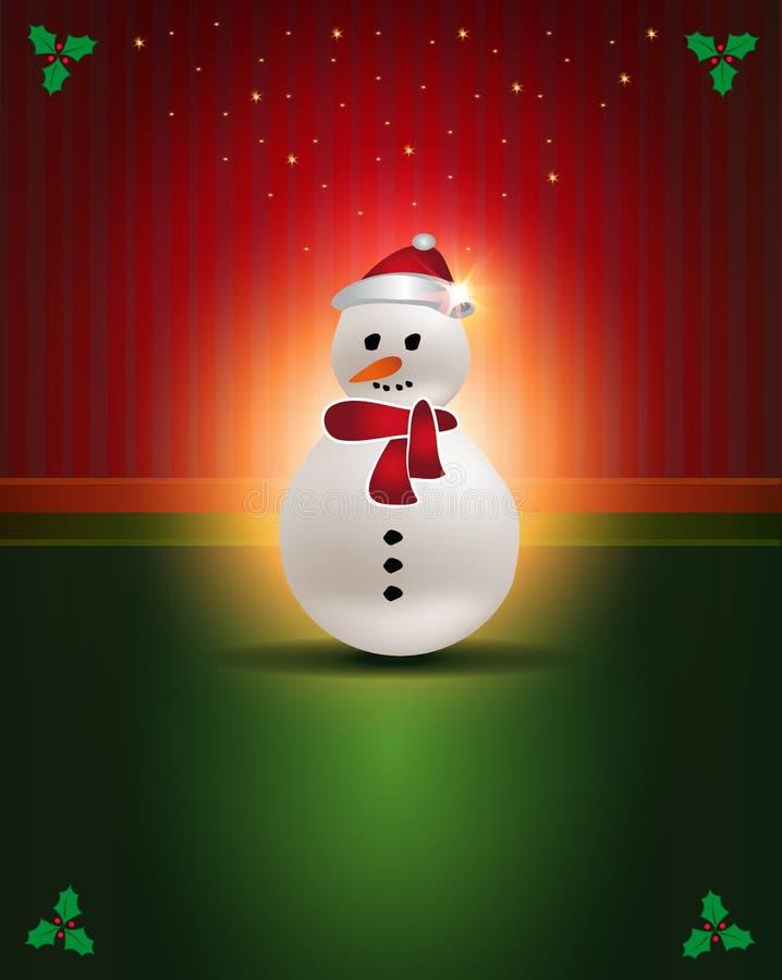 De Rode Groene sneeuwman van kerstkaarten vector illustratie