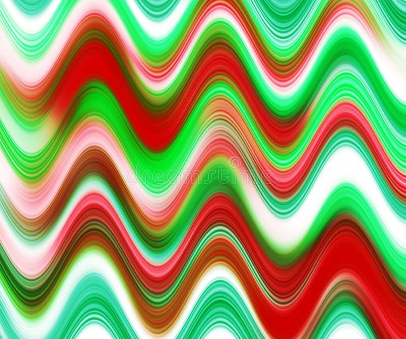 De rode groene tinten van golvenvormen, abstracte achtergrond stock illustratie