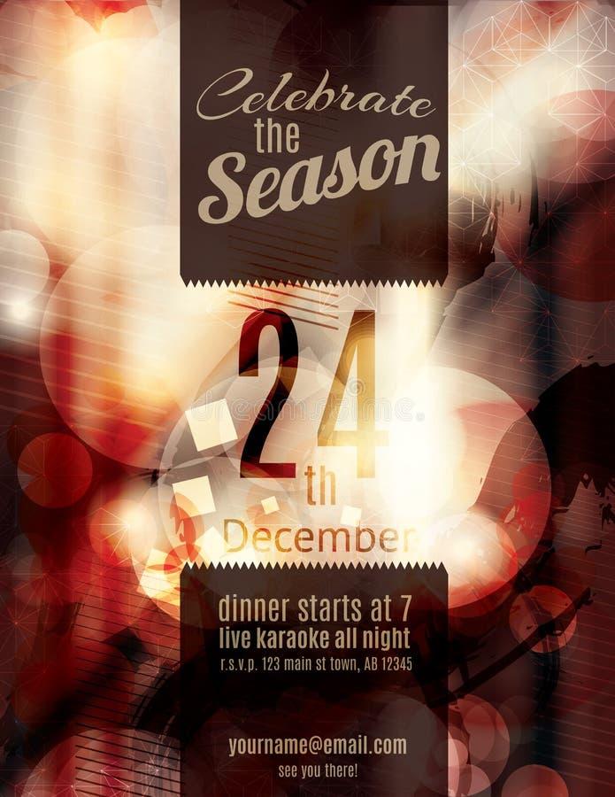 De rode Grunge-uitnodiging van de Kerstmispartij vector illustratie