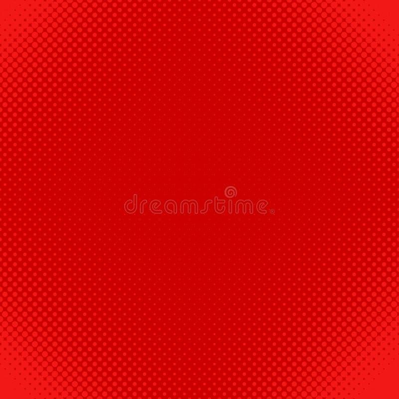 De rode halftone achtergrond van het puntpatroon - vectorontwerp van cirkels in variërende grootte royalty-vrije illustratie