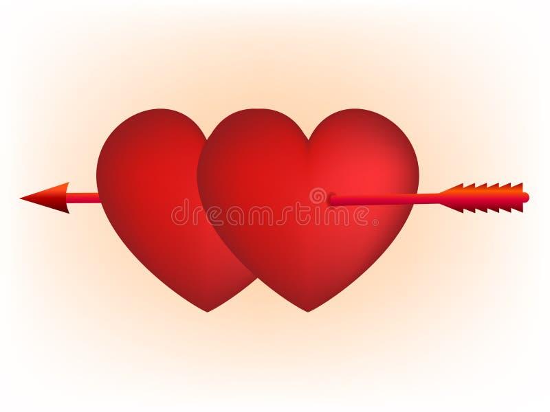 De rode harten en pijl van de Cupido vector illustratie