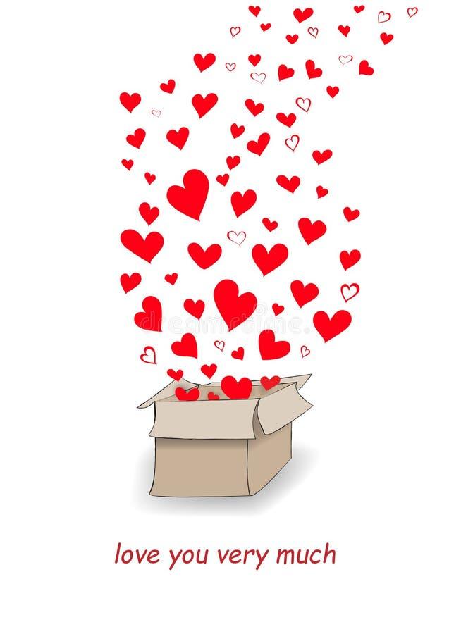 De rode harten vliegen uit de brievenbus die op witte achtergrond, verticale vectorillustratie wordt geïsoleerd vector illustratie