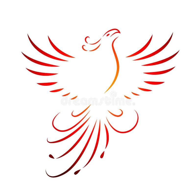 De rode het toenemen van Phoenix tekening van de vleugelslijn die op een witte achtergrond wordt geïsoleerd vector illustratie