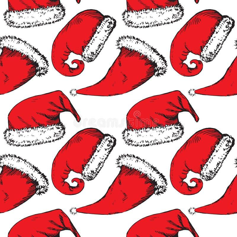 De rode hoeden van de Kerstmiskerstman op witte achtergrond royalty-vrije illustratie