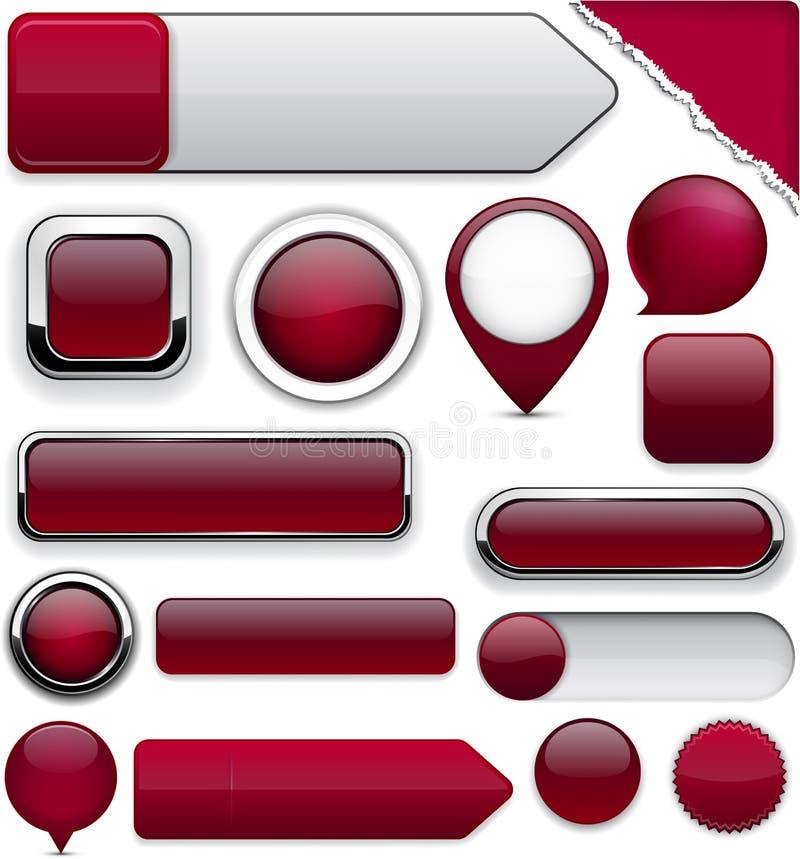 De rode hoog-high-detailed moderne knopen van de wijn. vector illustratie