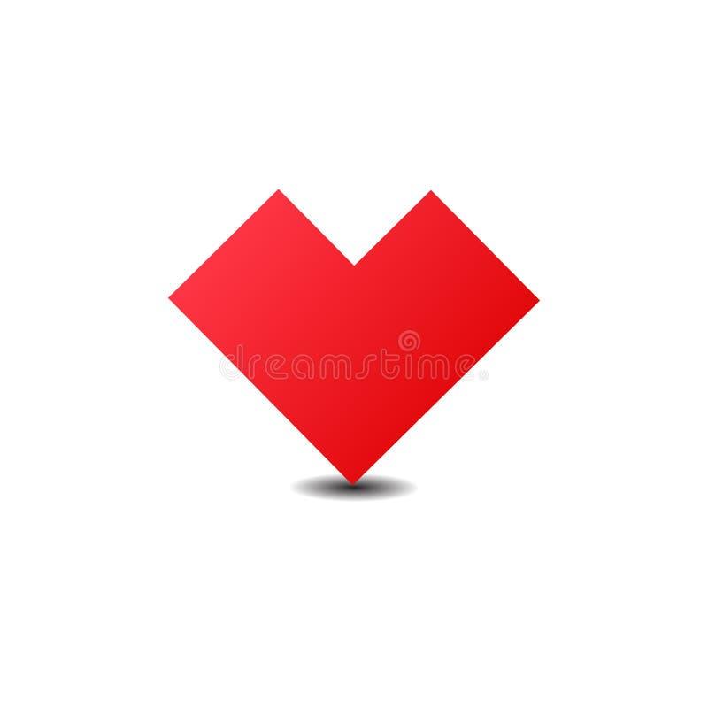 De rode Illustratie van het Hartpictogram Vlak eenvoudig rood symbool op witte achtergrond met schaduw royalty-vrije illustratie