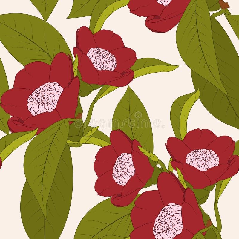 De rode installatie van de cameliabloem met bladerenoverzicht op beige achtergrond Natuurlijke bloemen naadloze patroontextuur royalty-vrije illustratie