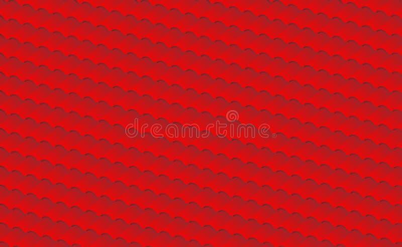 De rode isometrische achtergrond van de daktegel, patroon voor huis die in kleur vectorillustratie behandelen vector illustratie