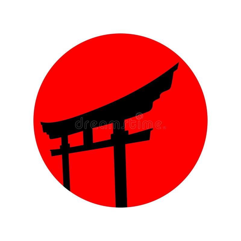 De rode Japanse inspiratie van het embleem vectorontwerp stock illustratie