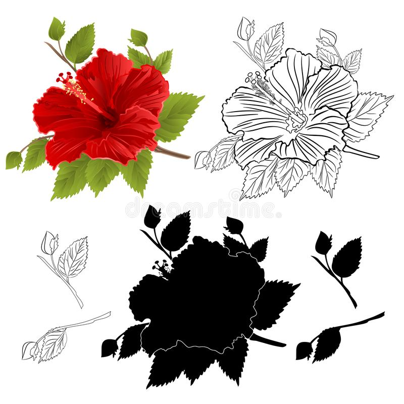 De rode kleuren natuurlijk overzicht en silhouet van de hibiscus tropisch bloem op een witte uitstekende vector botanische illust stock illustratie