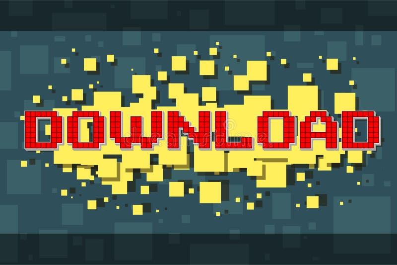 De rode knoop van de pixeldownload voor videospelletjes stock illustratie