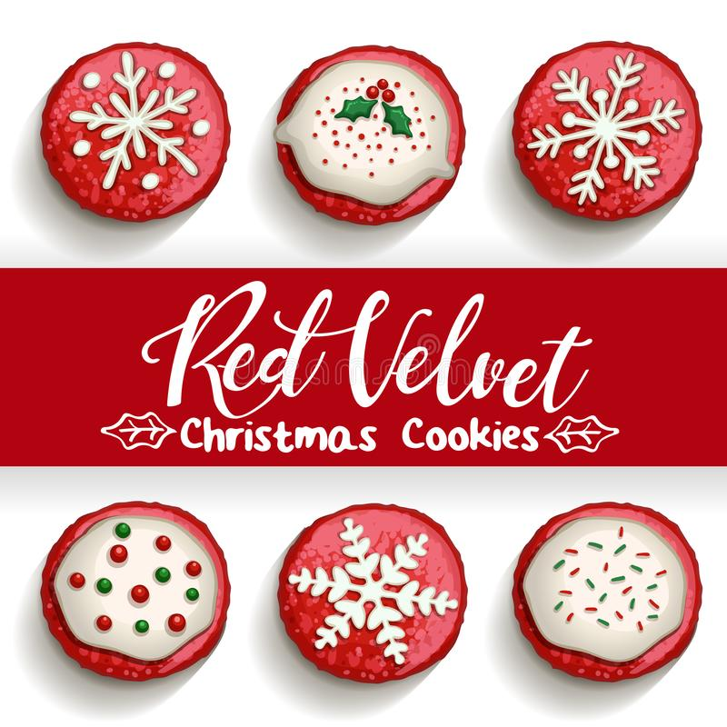 De rode koekjes van de fluweelchocoladeschilfer op witte achtergrond royalty-vrije illustratie