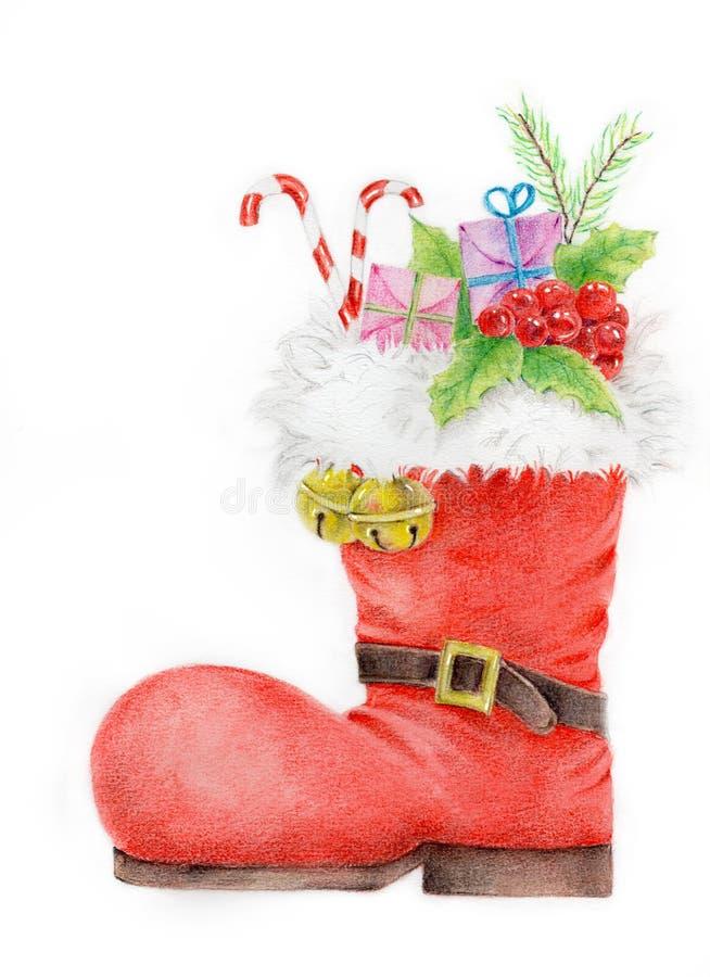 De rode Laarzen van de Kerstman` s Laars vector illustratie