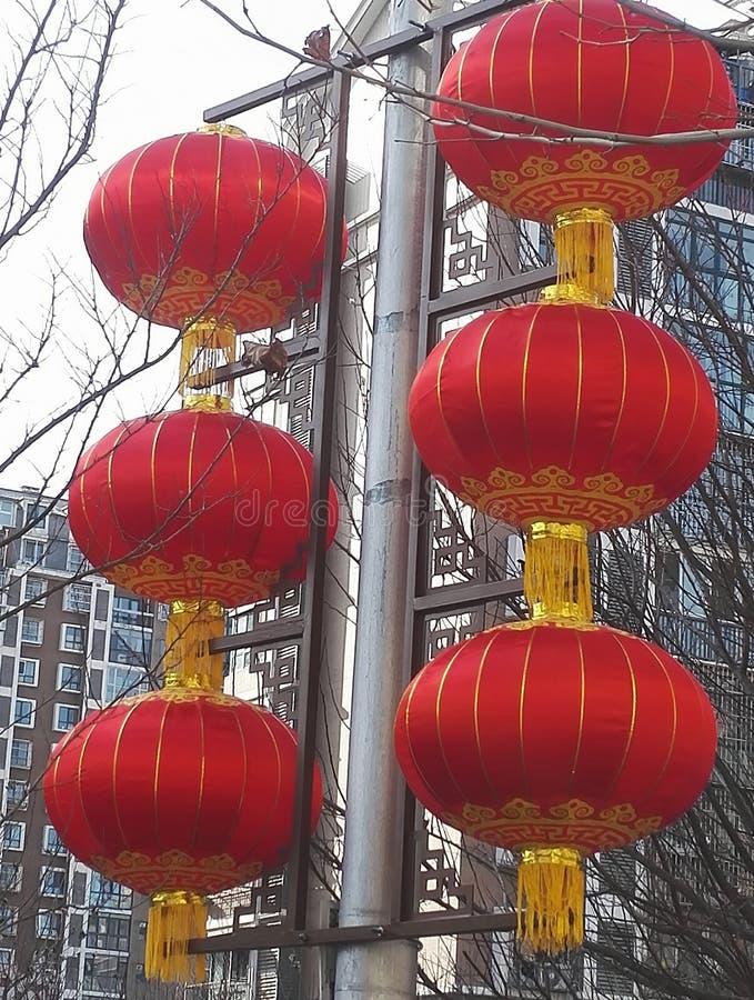 De rode Lantaarns tonen de Atmosfeer van Chinees nieuw jaar royalty-vrije stock foto's
