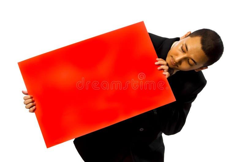 De Rode Lege Kaart Greep van de bedrijfs van de Mens royalty-vrije stock afbeeldingen