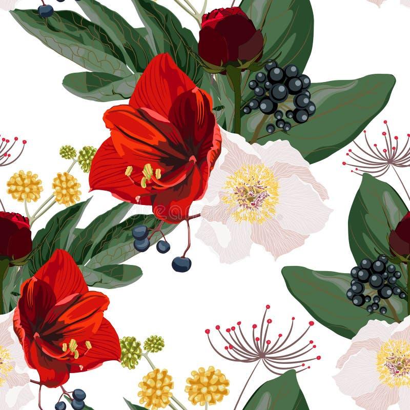 De rode lelies en de witte pioen bloeien met grassen en kruidenboeket naadloos patroon royalty-vrije illustratie