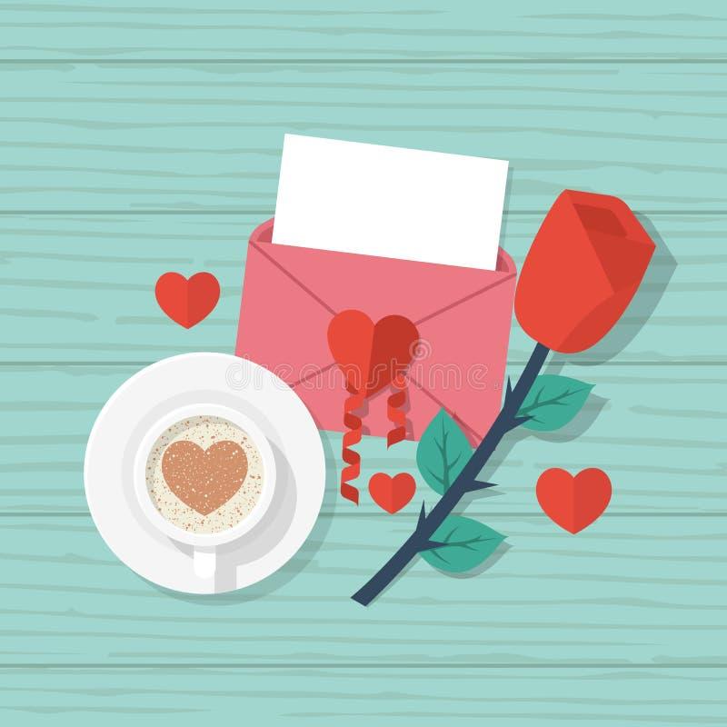 De rode liefdebrief, nam, kop van koffie toe stock illustratie