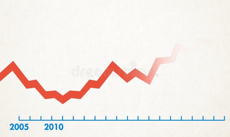 De rode lijn van de tijdlijn op een witte achtergrond royalty-vrije stock afbeelding