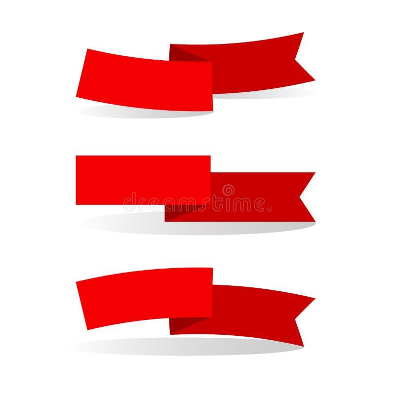 De rode linten op een lichte achtergrond isoleerden Element van ontwerp van de affichesa reeks van reclamebanners linten voor de  vector illustratie