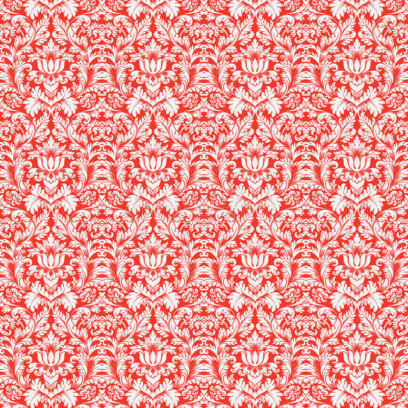 De rode Naadloze Achtergrond van het Patroon van het Damast van Kerstmis vector illustratie