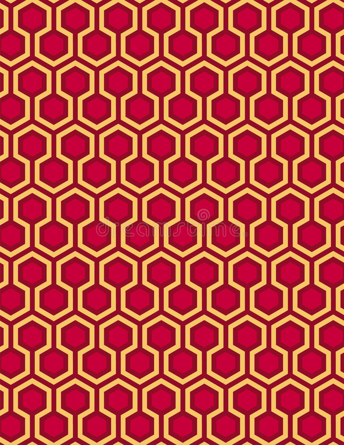 De rode naadloze Hexagon achtergrond en de honingraat van de patroonstijl royalty-vrije illustratie