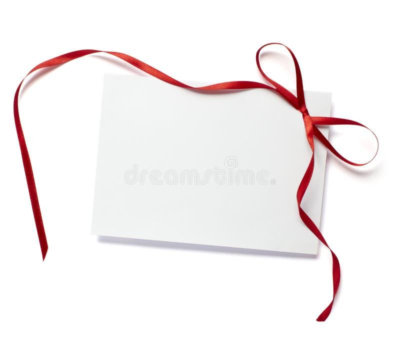 De rode nota van de lintkaart royalty-vrije stock foto
