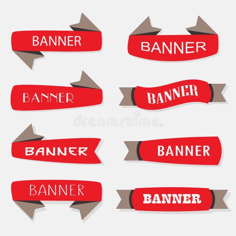 De rode opgeblazen geplaatste pictogrammen van lintbanners stock illustratie