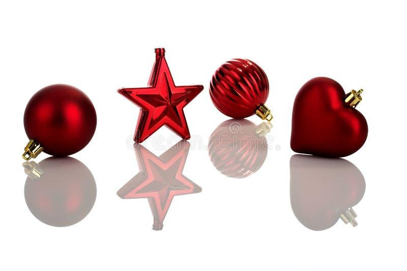 De rode Ornamenten van Kerstmis stock afbeeldingen