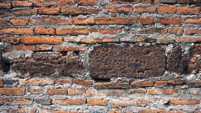 De rode oude versleten achtergrond van de bakstenen muurtextuur Uitstekend Effect royalty-vrije stock afbeeldingen