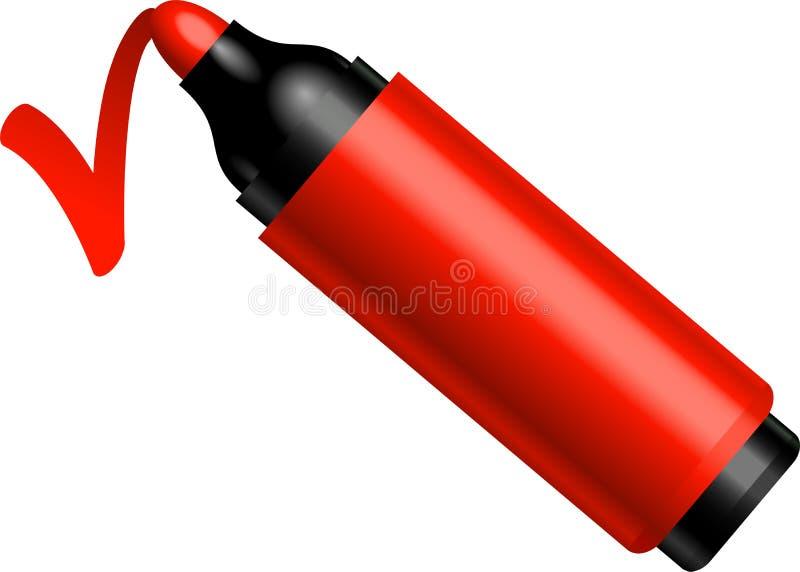 De rode pen maakt een teken vector illustratie