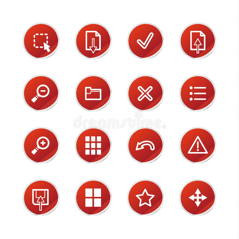 De rode pictogrammen van de stickerkijker royalty-vrije illustratie