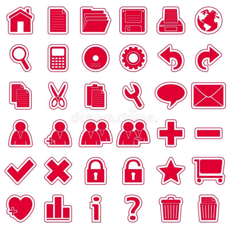 De rode Pictogrammen van de Stickers van het Web [1] royalty-vrije illustratie