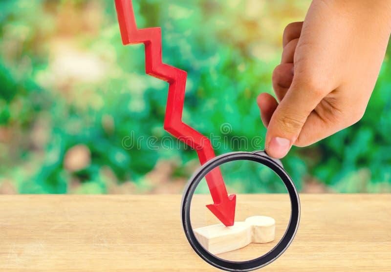 De rode pijl splijt de persoon Slachtoffer van de economische crisis, stock afbeeldingen