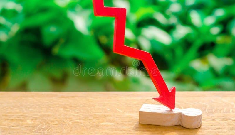 De rode pijl splijt de persoon Slachtoffer van de economische crisis, de dalende citaten en de instorting van de markt Kwetsbaar  royalty-vrije stock afbeelding