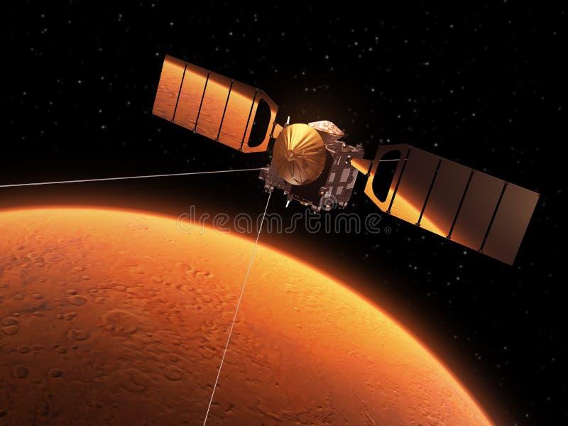 De rode Planeet wordt weerspiegeld in Zonnepanelen van Interplanetair Ruimtestation stock illustratie