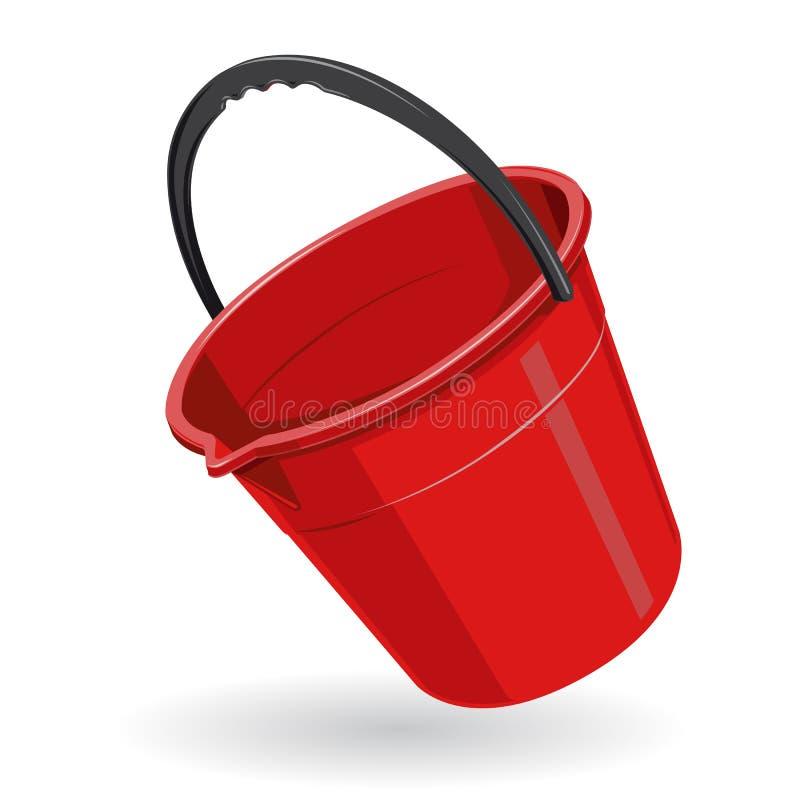 De Rode Plastic Emmer van Nice met zwart handvat op wit stock illustratie