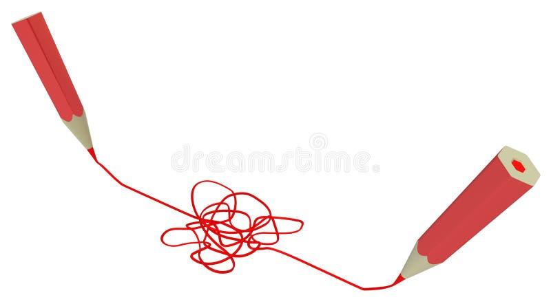 De rode Potloden trekken Verwarring stock illustratie
