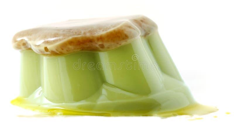 De rode pudding van de boon groene thee stock afbeeldingen