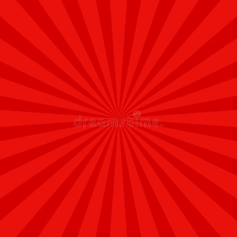 De rode retro achtergrond van de zonstraal - vector grafisch ontwerp met radiale stralen stock illustratie