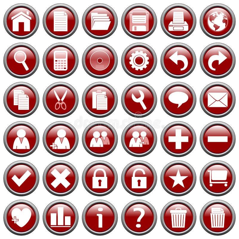 De rode Ronde Knopen van het Web [1] royalty-vrije illustratie